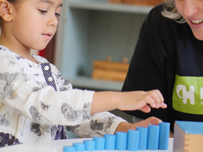 Child using Montessori equipment at Hove Village