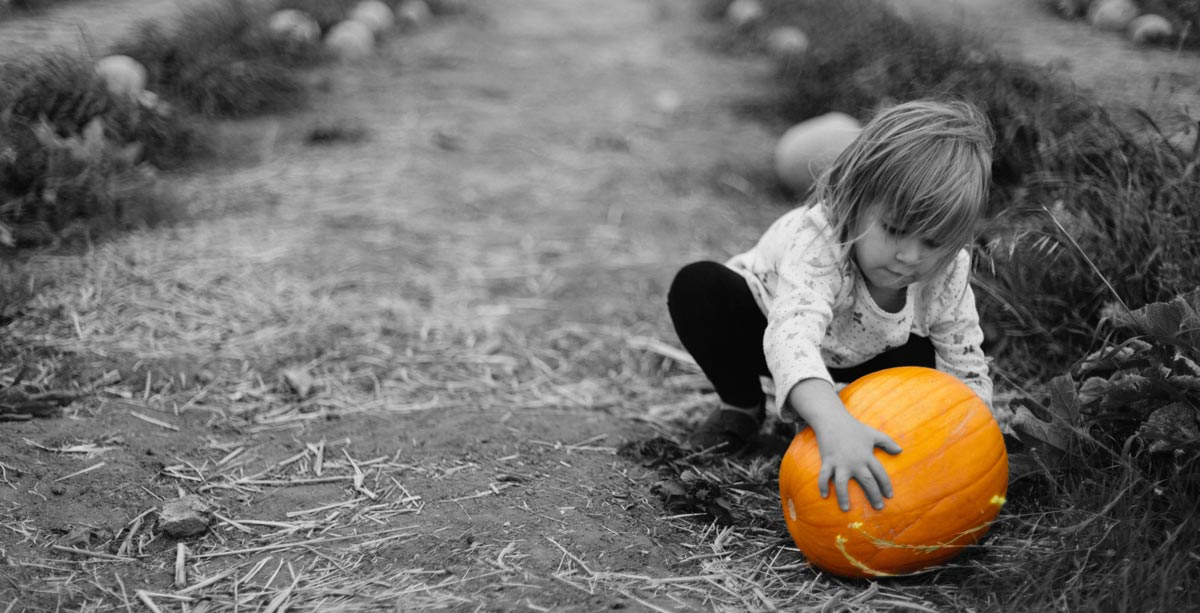 Girl playing with a pumpkin - Hove Village Day Nursery